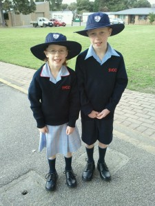 The kids in their school uniforms
